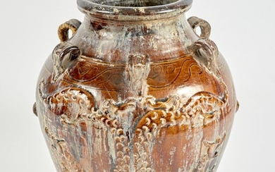 Chinese or Southeast Asian Brown-Glazed Martaban Storage Jar