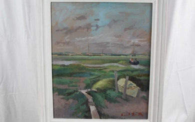David Britton, contemporary, oil on board - Boats and Walkways at Tollesbury, signed, framed, 59cm x 49cm