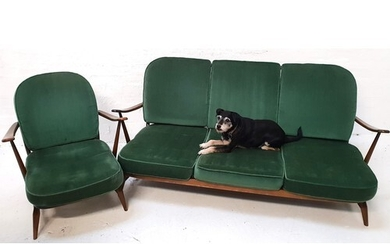 ERCOL THREE SEAT SOFA in stained beech with a stick back and...