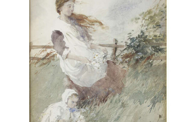 Early 20th century watercolour of a woman and child gathering flowers