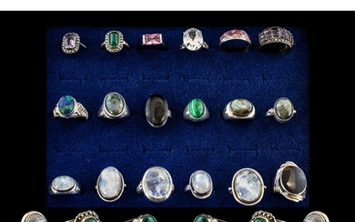Excellent Collection of Vintage Sterling Silver Stone Set Ri...