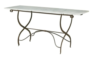 French Iron and Marble-Top Conservatory Table