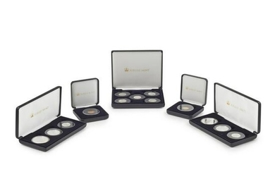 G.B - Five cased gold and silver proof and other coin