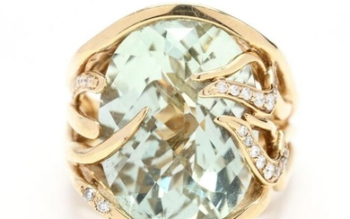 Gold, Green Amethyst, and Diamond Ring