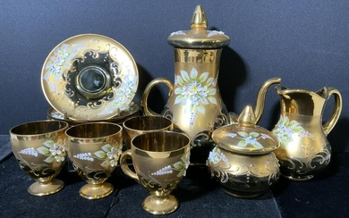 Group Lot 12 pc Hand Painted Glass Serving Set