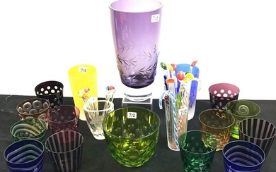 Group Of Colored and Clear Etched Glass -Tumblers, Vase