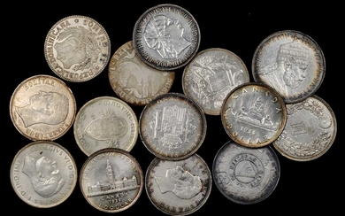 MIXED LOTS. World Silver Crown Group (14 Pieces), 1839-1939. Grade Range: FINE to ALMOST UNCIRCULATED.