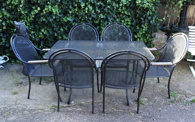 (-), Metal gray lacquered garden set consisting of...