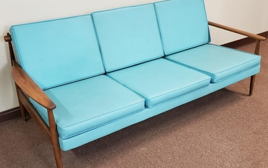 Mid Cent Wood Sofa W/ Aqua Cushions