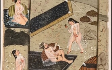 Miniature painting with erotic scenes outdoors, tigers above and below, inscribed on the reverse, g