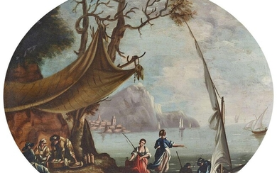Neapolitan School, late 18th/early 19th Century- Italian mountainous coastal scenes with figures in the foreground; oils on panel, oval, each 25 x 35 cm, a pair (2). Provenance: Private Collection, UK.