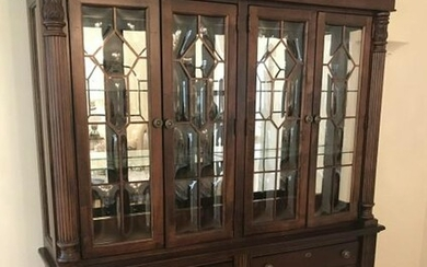 Neoclassical Style Mirrored & Lit China Cabinet