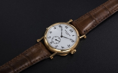 "PATEK PHILIPPE, REF. 3960J, A GOLD MANUAL-WINDING WRISTWATCH WITH ""OFFICER CASEBACK"" TO MARK THE BRAND'S 150th ANNIVERSARY"