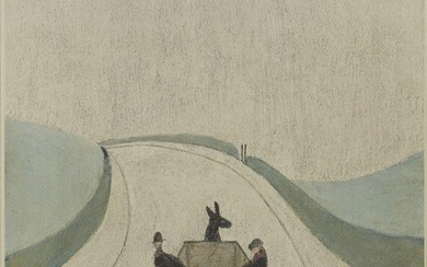 PROPERTY FROM THE ESTATES OF L.S. LOWRY AND THE LATE CAROL ANN LOWRY Laurence Stephen Lowry RBA RA, British 1887-1976- The Cart; offset lithograph in colours in wove, signed in pencil, printed by Max Jaffe, Vienna, with the Fine Art Trade Guild...