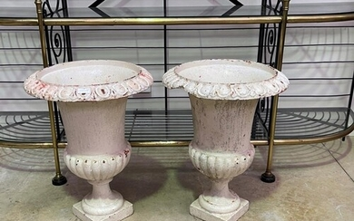Pair of large antique French cast iron white painted garden ...
