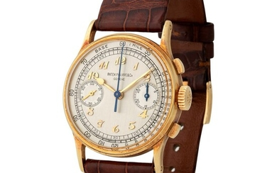 Patek Philippe. Outstanding and Extremely Rare Chronograph Wristwatch in Yellow Gold, Reference 130, With Breguet Numbers Dial and Extract from the Archives