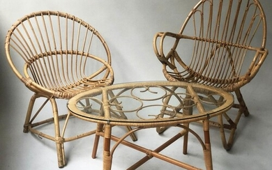 RATTAN ARMCHAIRS, two similar arched woven cane rattan with ...