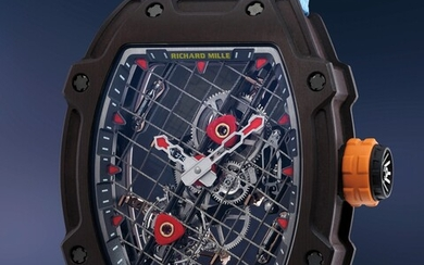 Richard Mille, Ref. RM27-04 A mind boggling TitaCarb tourbillon wristwatch with guarantee and presentation box, number 21 of a 50 piece limited edition