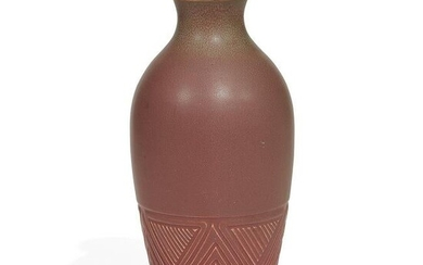 Rookwood Pottery vase in green over rose