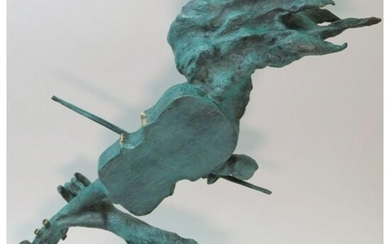 Signed Abstract Bronze Sculpture, Lady Playing Violin