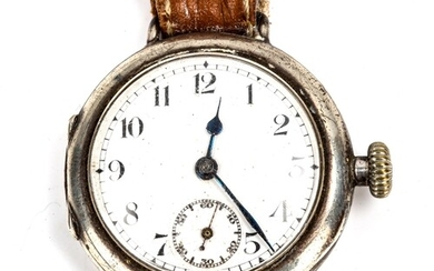 TALIS WATCH CO - an early 20th century silver-cased Officer'...