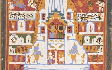 The Jagannath triad in the Puri temple(paicha mathra), Puri, 20th century, unfinished 26.2 x 22.5cm. Provenance: Private collection, Germany acquired in Raghurajpur, India in 1981