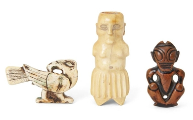 Three carved ivory figures, Polynesia, 19th century, comprising a bone bird, an ivory figure and a wood deity, tallest 7.6cm. high (3) provenance: Private Collection Oliver Hoare (1945-2018)