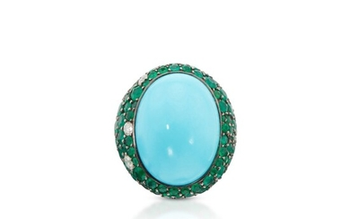 Turquoise, Emerald and Diamond Ring, France, de Grisogono