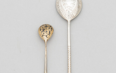 Two Russian spoons in gilt silver and silver, makers' marks of Konstantin Petz 1848, Vasilij M. Ashmarin 1888, Moscow.