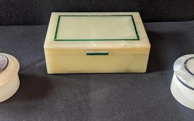 Two stone dressing table boxes, one inlaid with