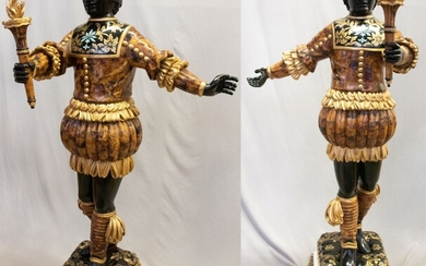 "VENETIAN CARVED POLYCHROME AND PARCEL GILT ""BLACKAMOOR"" SCULPTURES PAIR, H 71"", W 34"""