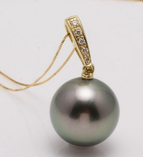 14 kt. Yellow Gold - 12x13mm Round Tahitian Pearl