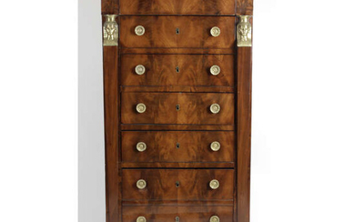 A 19th century mahogany King Louis Philippe semainier chest of drawers.