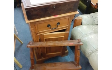 A 20th century pine bedside cabinet/pot cupboard with small ...
