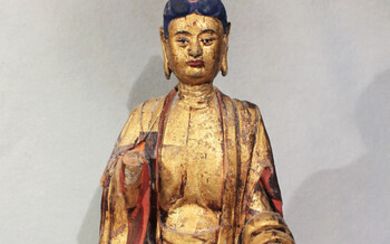 A Chinese Pottery/straw mix figure of Buddha seated in meditation on lotus dais, in Ming style