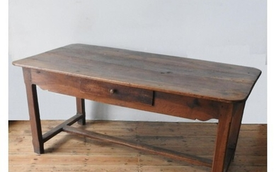 A FRENCH 19TH CENTURY RUSTIC FRUITWOOD FARMHOUSE TABLE WITH ...