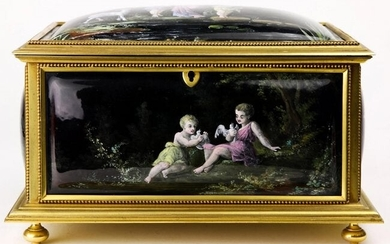 A French Gilt Bronze And Enameled Porcelain Jewelry Box