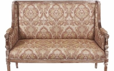 A French limed beech canape, in Louis XVI style, seat height...
