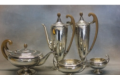 A George V silver five piece tea and coffee set, with decor...
