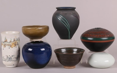 A Group of Modern Pottery Including Paul Lansing