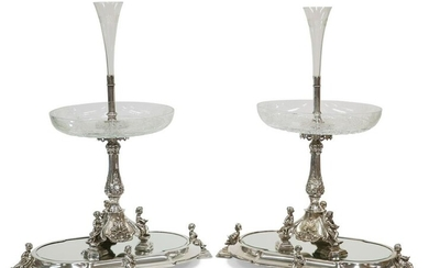 A HANDSOME PAIR OF 19TH CENTURY SILVER-PLATED