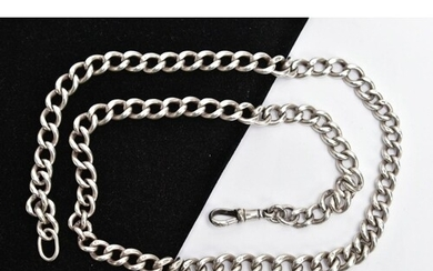 A HEAVY SILVER CHAIN, graduated curb link design, fitted wit...