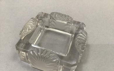 A Lalique clear and frosted glass dish, etched signature to ...