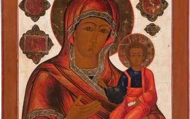 A MONUMENTAL ICON SHOWING THE SMOLENSKAYA MOTHER OF GOD...