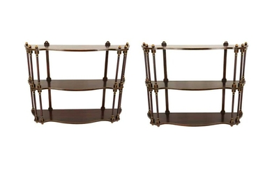 A PAIR OF REGENCY STYLE FAUX ROSEWOOD HANGING SHELVES