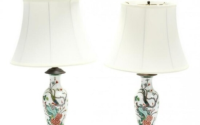 A Pair of Chinese Export Porcelain Table Lamps