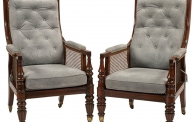 A Pair of English Regency-Style Caned Armchairs