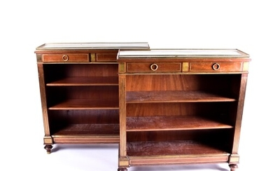 A Pair of French Empire style marble gallery topped mahogany...