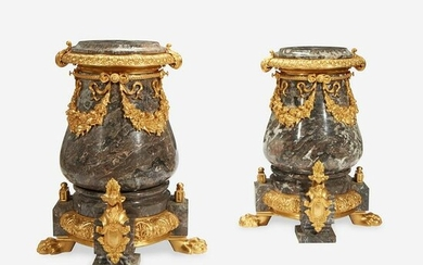 A Pair of Gilt Metal Mounted Variegated Gray Marble