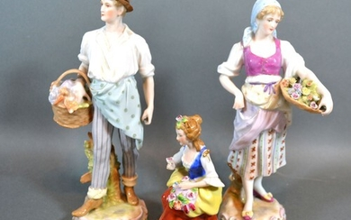 """A Pair of Late 19th century German porcelain figures """"The Fl..."""
